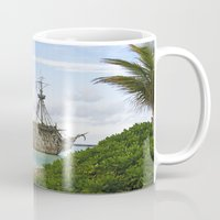 pirate ship Mugs featuring Pirate ship in the Caribbean by Daylight Magic: Images by Jeff