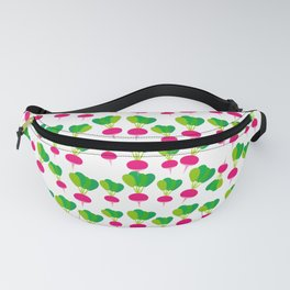 pattern with pink radish with green leaves,  on white background. Vector illustration Fanny Pack