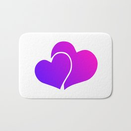 Pink and Purple Gradient Double Hearts Bath Mat