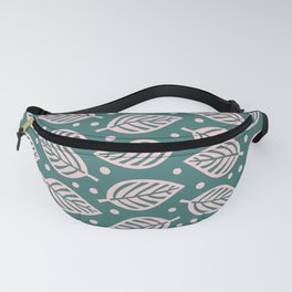 Mid Century Modern Falling Leaves Green Pink Fanny Pack