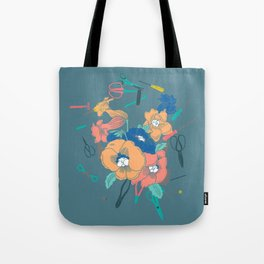 Flowers and Scissors Tote Bag