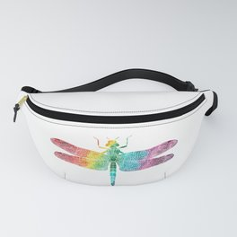 Gorgeous Rainbow Watercolor Dragonfly Silhouette Fanny Pack