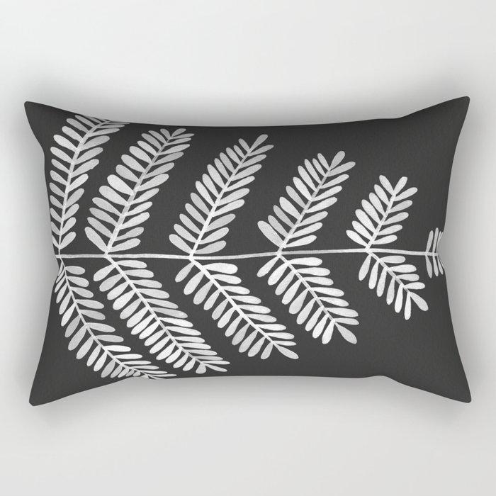 White Leaflets Rectangular Pillow