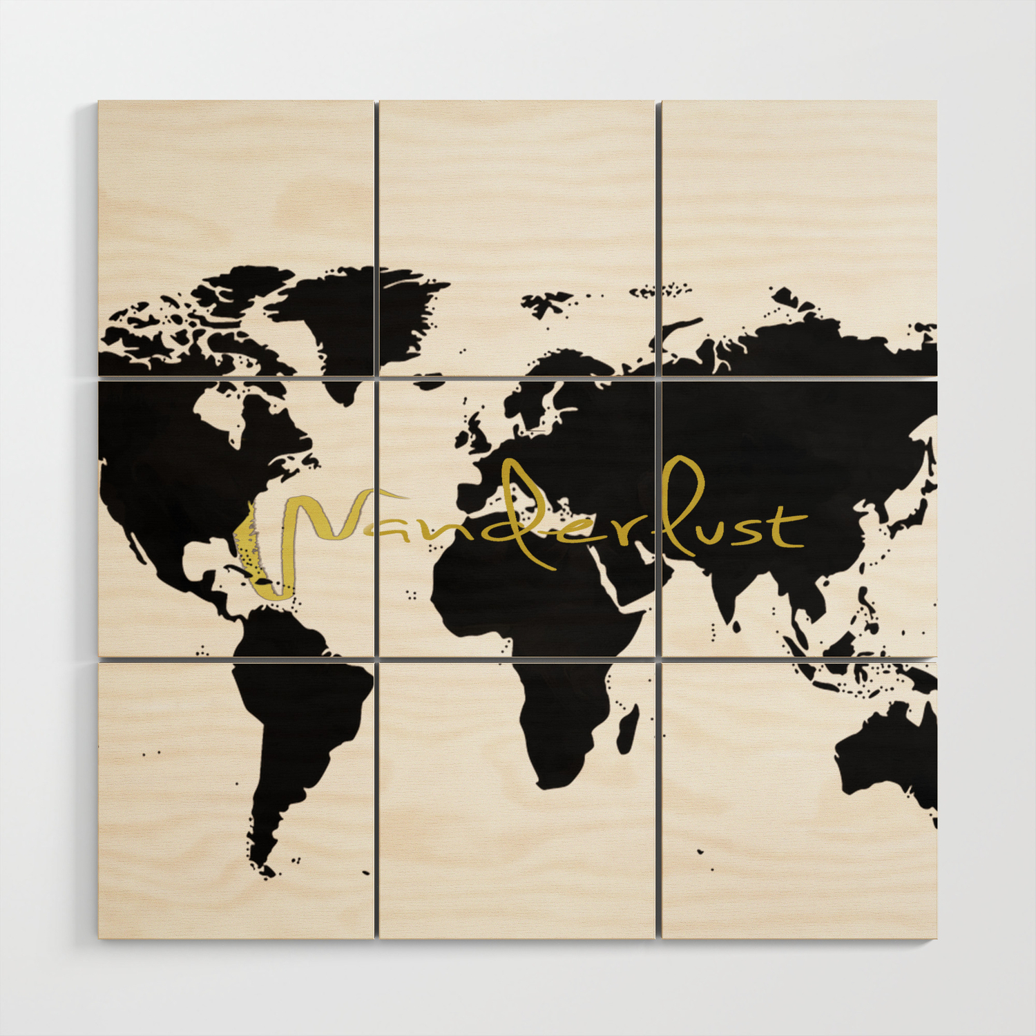 Black World Map Wood Wall Art by nadja1 | Society6