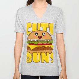 """Cute Buns"" Delicious Burger Hamburger T-shirt Design Patty Buns Grilled Charcoal Cooked Ham Unisex V-Neck"