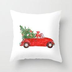 Christmas Car Throw Pillow