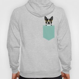 Darby - Boston Terrier pet design with hipster glasses in bold and modern colors for pet lovers Hoody