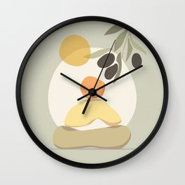 Abstract balancing stone and yoga concept illustration, contemporary art poster in pastel colors Wall Clock
