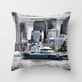 Yachts in Charles River Throw Pillow