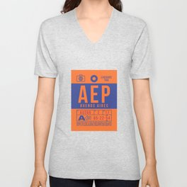 Baggage Tag B - AEP Buenos Aires International Argentina Unisex V-Neck