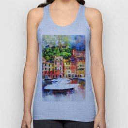 Watercolor Pier Paint Unisex Tank Top