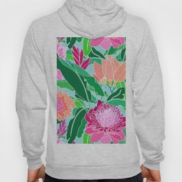 Bird of Paradise + Ginger Tropical Floral in Blue Hoody