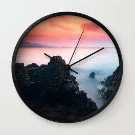 sunset at Ionian sea Wall Clock