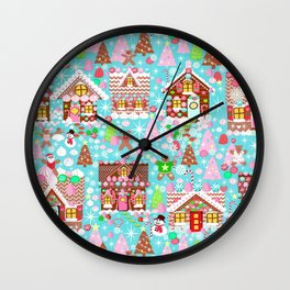 Christmas Village made of Gingerbread Wall Clock