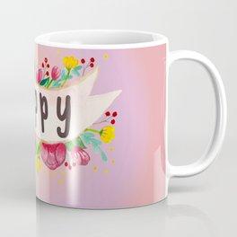 Watercolor Happy Flowers Banner Coffee Mug