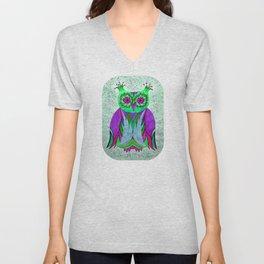 Poppy Color Owl Unisex V-Neck