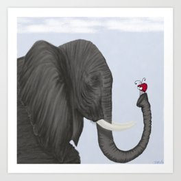 Bertha The Elephant And Her Visitor Art Print