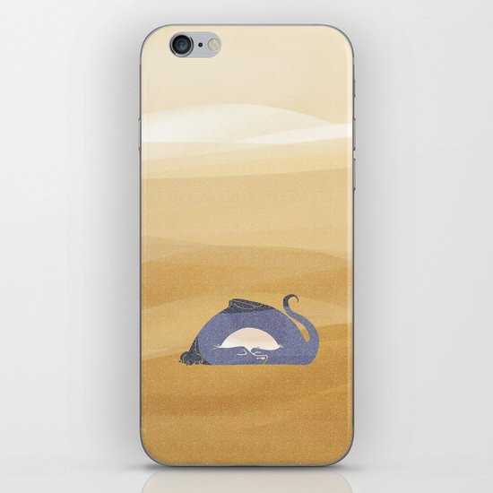 little dragon is sleeping in the sand illustration iPhone Skin