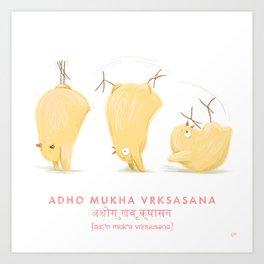 Adho Mukha Vrksasana Chicken Yoga Art Print