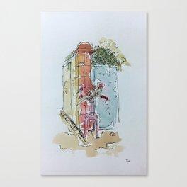Le Pouliguen Street Corner Watercolor Canvas Print