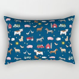 Farm animals nature sanctuary cow pig goats chickens kids gender neutral Rectangular Pillow