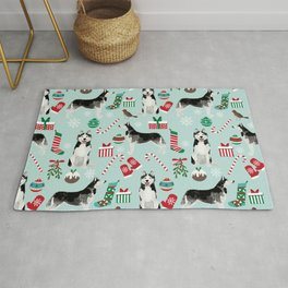 Siberian Husky christmas festive holiday gifts for husky owners by pet friendly Rug