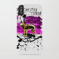 manchester iPhone & iPod Cases featuring Manchester Terier by Genco Demirer
