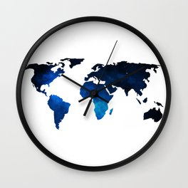 World Map Space Planet Blue Wall Clock