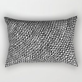 Black and White Unique Textured Charcoal Circle Doodle Pattern Drawing // Animal Snake Scale Print Rectangular Pillow