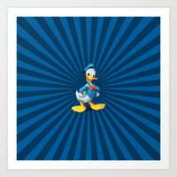 donald duck Art Prints featuring Donald - The Duck by applerture