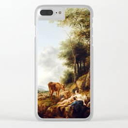 Nicolaes Berchem Landscape with a Nymph and a Satyr Clear iPhone Case