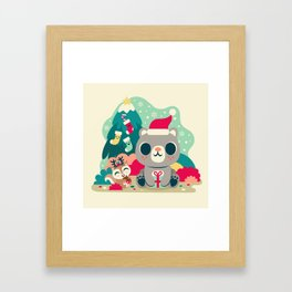 Holiday Woodland Bear / Cute Animal Framed Art Print