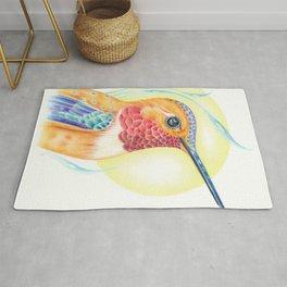 Rufous Hummingbird Sun Colored Pencil Art Rug