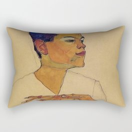 SELF PORTRAIT WITH HANDS ON CHEST - EGON SCHIELE Rectangular Pillow