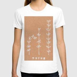 Thyme Herb Design — Botanical Art Print — Herb Plant Design — Thyme White Ink Design T-shirt