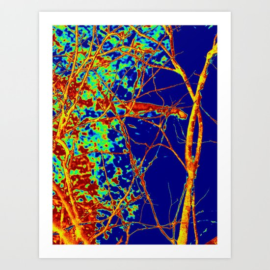 Tangled up in blue Art Print