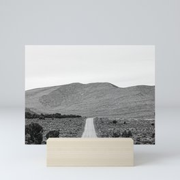 Road Outta Town // Black and White Landscape Photograph Going Out to Nowhere Peaceful Scenery Mini Art Print