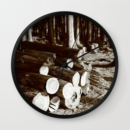 Stacked logs Wall Clock