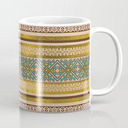 Mexican Style pattern - teal, gold and earthy colors Coffee Mug
