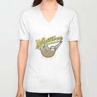 whatever V-neck T-shirts featuring Whatever by Mathiole