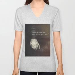 The Journey. Holding hands plus quote. Unisex V-Neck