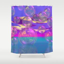 Tropical Morning – Abstract Magenta and Turquoise Paradise Shower Curtain
