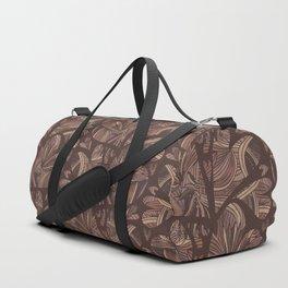 Deep Brown Woven Heart Stripes, Elegant Love Duffle Bag