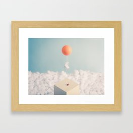 Chair with Balloon flying away Framed Art Print