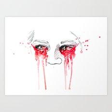 blood red eyes Art Print