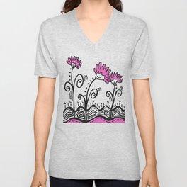 Three Spring Flowers - Pink Unisex V-Neck