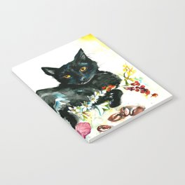 Coffee, Orchid and Black Cat Vintage Style Large Format XXL Notebook