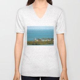 Boca Chita Key and The Miami Skyline Unisex V-Neck