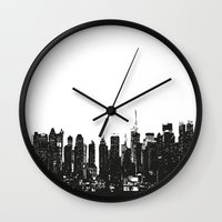 wwe Wall Clocks featuring New York black and white high quality art print by eARTh