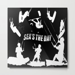 Seas The Day Kitesurfing Metal Print